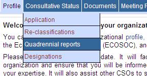 Select the Quadrennial Reports tab